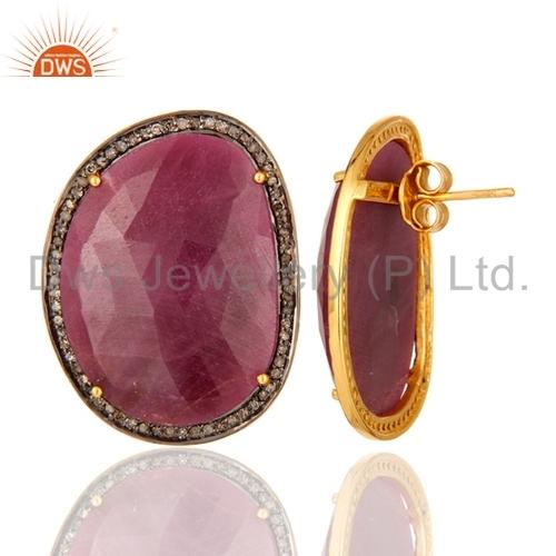 Sterling Silver Ruby Diamond Stud Earrings