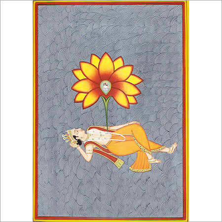 Brahma seated on lotus sprouted from the navel