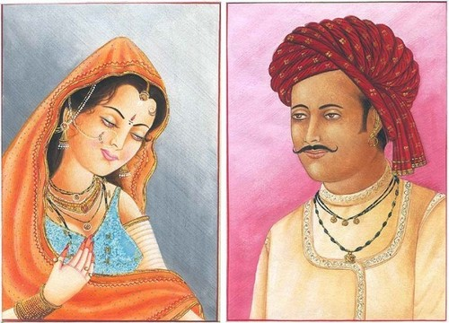 A Rajasthani gentleman with his shy bride
