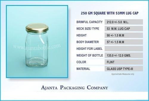 250 Gm Square Fancy Honey Jar