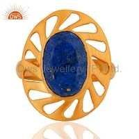 925 Silver Designer Gemstone Gold Plated Ring