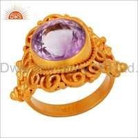 Amethyst Gold Plated Silver Designer Ring Jewelry