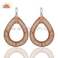 18k Rose Gold Plated Sterling Silver Wire Earring
