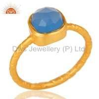 925 Silver Gold Plated Gemstone Rings