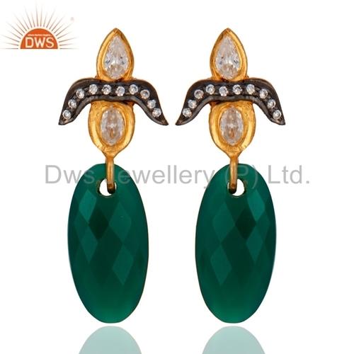 18K Gold Sterling Silver Green Onyx Earring