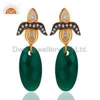 18K Gold Sterling Silver Green Onyx Earring