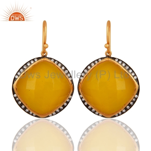 18ct Gold Plated Sterling Silver Smoky Quartz Gemstone Earrings