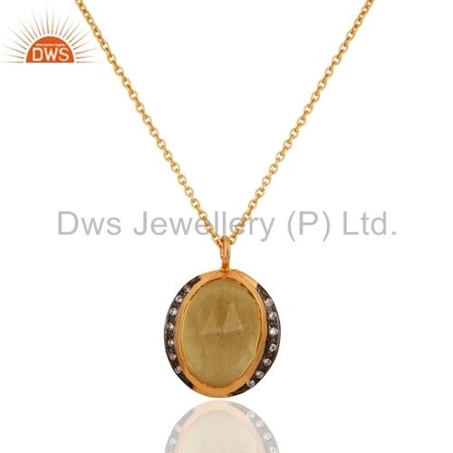 18K Gold Vermeil Citrine Sterling Silver Pendant