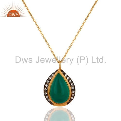 18K Gold Plated 925 Silver Green Onyx Pendant