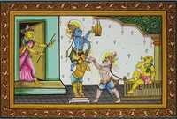 Shri Krishna and balarama eating  butter