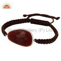 Red Onyx Gemstone 925 Sterling Silver Bracelet
