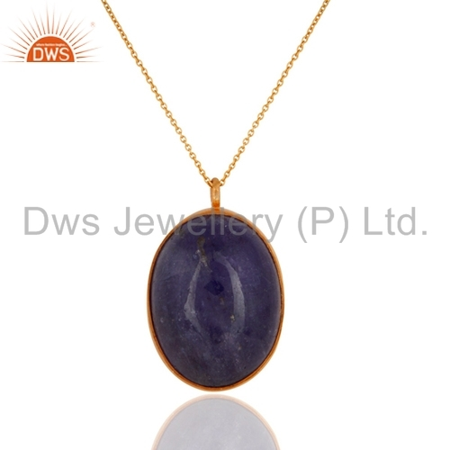 Gold Plated Sterling Silver Tanzanite Pendant