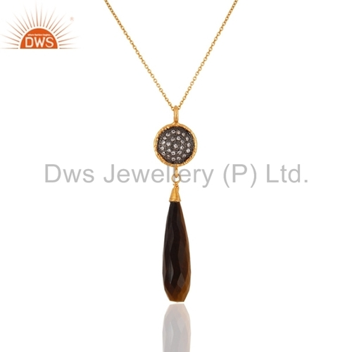 Gold Plated Sterling Silver Tiger Eye Pendant