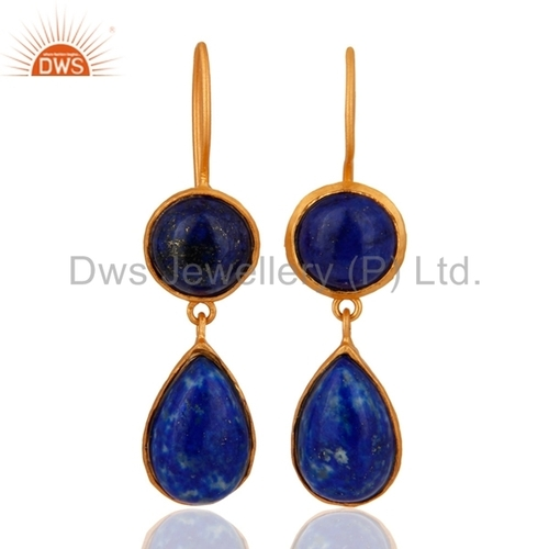 Lapis Lazuli Sterling Silver 18K Gold Plated Earring
