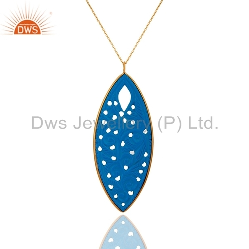 Gold Plated Sterling Silver Turquoise Pendant