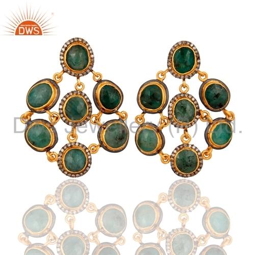 18k Gold Over Sterling Silver Diamond Emerald Earrings