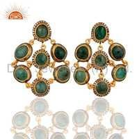 18k Gold Over Sterling Silver Diamond Emerald Earrings