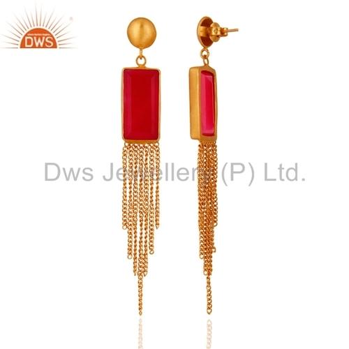 Rose Chalcedony 24K Gold Plated Earrings