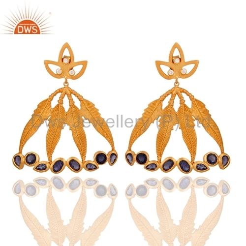 Iolite Gemstone 925 Silver 24K Gold Earrings
