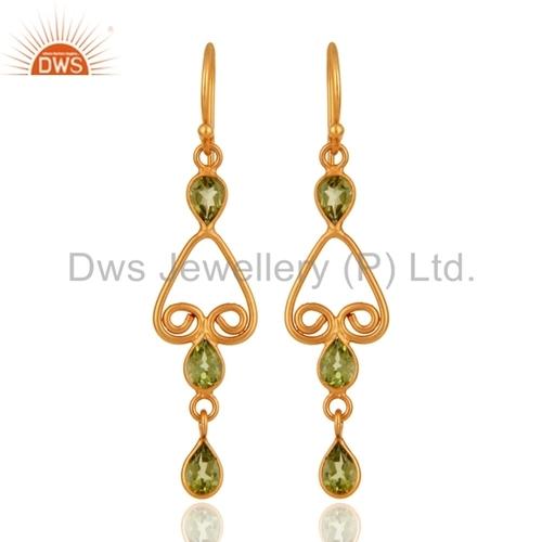 Gold Vermeil Sterling Silver Peridot Gemstone Earring