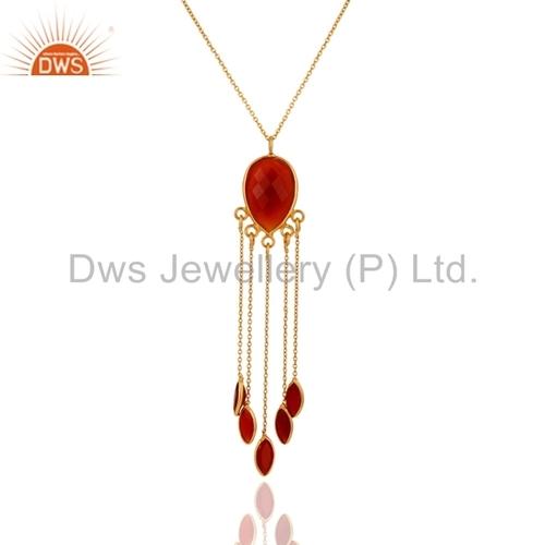 925 Silver Red Onyx 24K Gold Vermeil Pendant