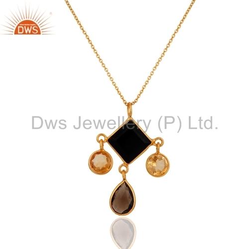 18K Gold Vermeil Sterling Silver Citrine & Black Onyx Pendant