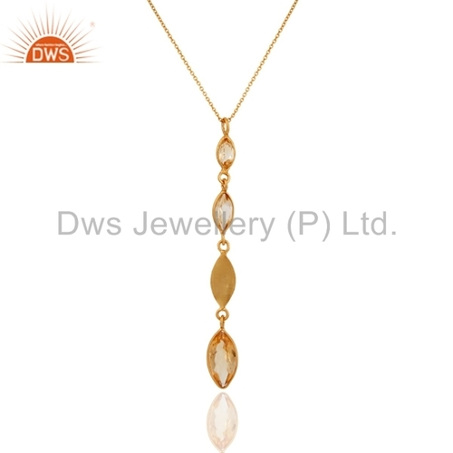 18k Gold Plated Sterling Silver Citrine Pendant
