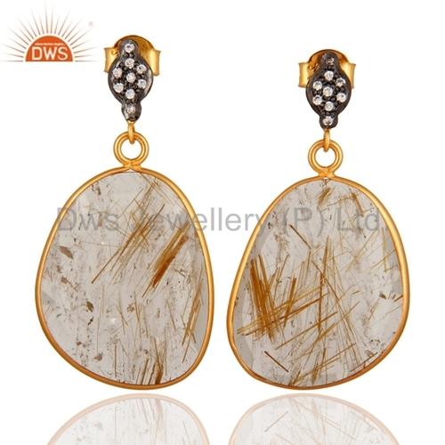 Golden Rutile Quartz CZ Sterling Silver Earring