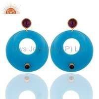Blue Bakelite Fashion Earrings