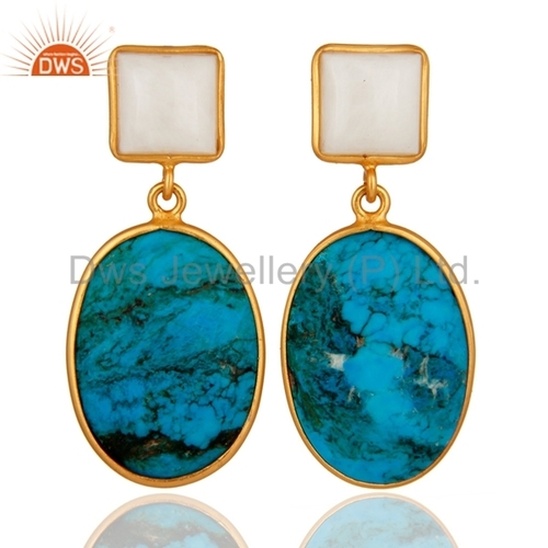 Sterling Silver Turquoise & Agate Silver Earrings
