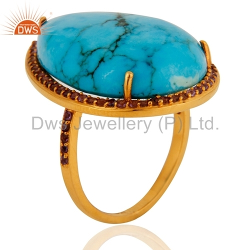 9k Solid Yellow Gold Turquoise & Amethyst Ring