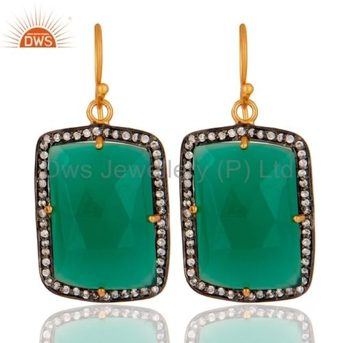 18K Gold Sterling Silver Green Onyx Earrings