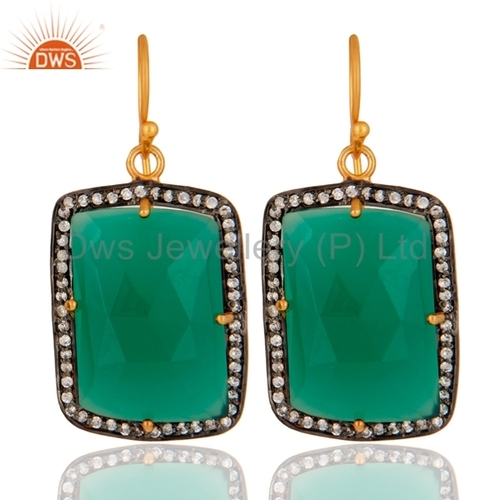 18K Gold Sterling Silver Green Onyx Earrings