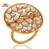 925 Silver Gold Plated Zircon Ring