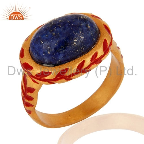 Sodalite Gold Vermeil Brass Ring