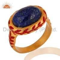 Sodalite Gold Vermeil Brass Ring