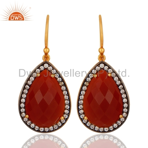 Red onyx 18k Gold Plated Sterling Silver Earrings