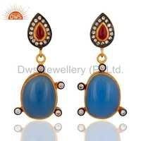 Gold Vermeil 925 Silver Blue Chalcedony & Tourmaline Earring