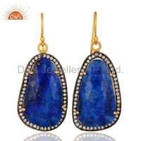 Lapis Lazuli 18k Gold Over Sterling Silver Earring