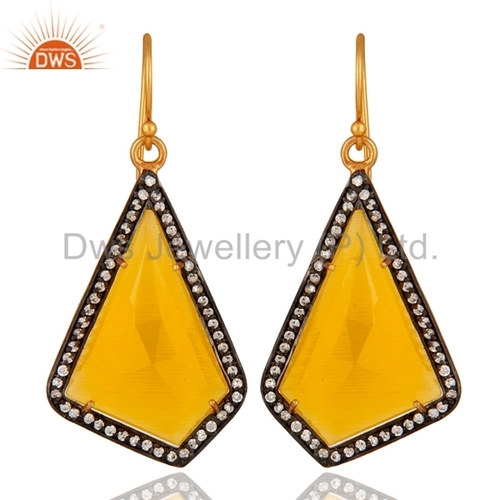 Yellow Moonstone 18K Gold Vermeil Sterling Silver Earring
