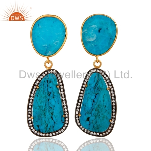 18K Gold Plated Sterling Silver Turquoise Earring