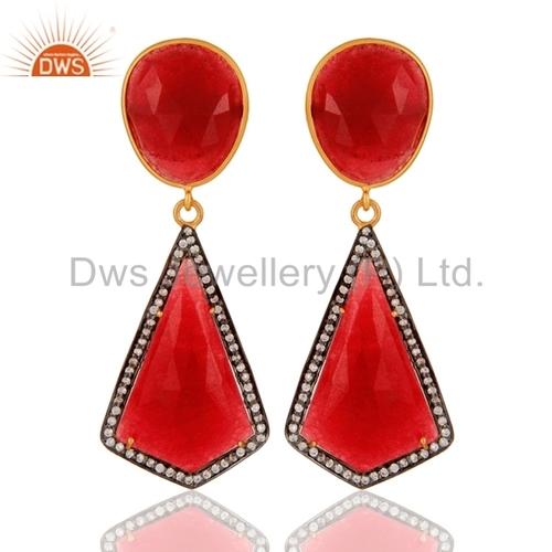 925 Sterling Silver Red Aventurine Earrings