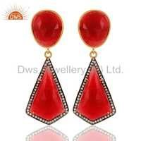 925 Sterling Silver Red Aventurine Earrings