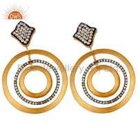 Cubic Zircon 925 Silver Gold Plated Earrings