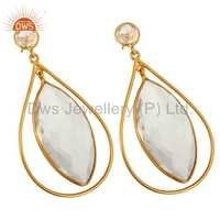 18K Gold Plated Quartz Crystal 925 Silver Earrings