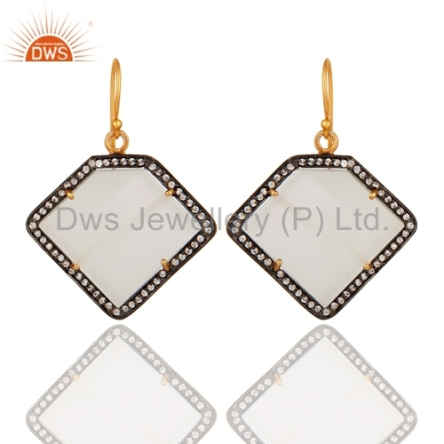 White Moonstone 22K Gold Plated Sterling Silver Earring