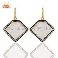 White Moonstone 22K Gold Plated Sterling Silver Earring