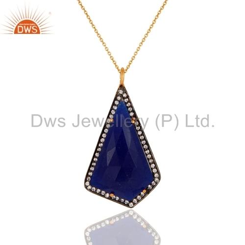 Blue Aventurine 18k Gold Sterling Silver Pendant