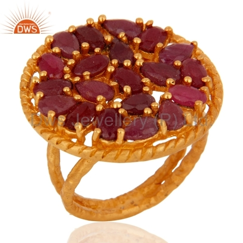 18K Gold Vermeil Sterling Silver Ruby Ring
