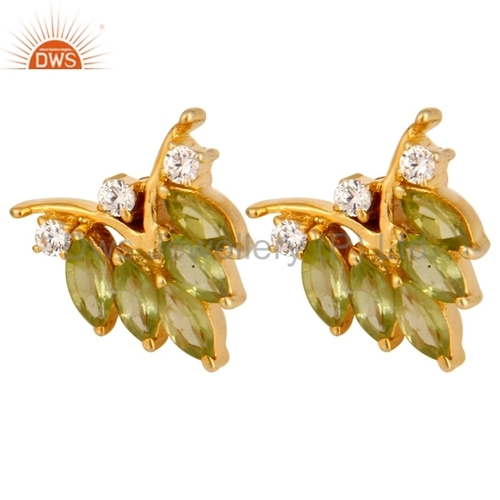 Peridot Gemstone & CZ 18K Gold On Sterling Silver Earring